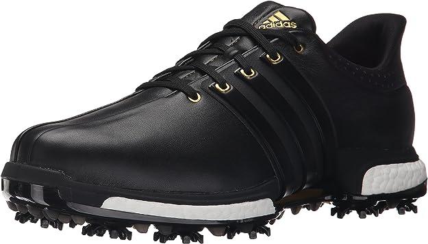 adidas Golf Men's Tour360 Boost Spiked Shoe,Black/Black/Gold Metallic,11 2E US
