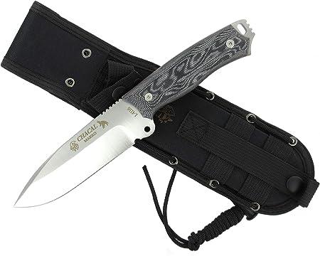 J&V Knives Cuchillo CHACAL MAKRO de Supervivencia Bushcraft Caza Pesca Campo Monte Outdoor - Acero Inoxidble 1.4116 - Mikarta - Fabricado en España