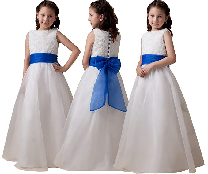 Angel Star Isabelle Ivory/White Flower Girl Dress with Choice of Blue/Purple Sash