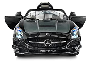 Carbon Black SLS AMG Mercedes Benz Car For Kids, 12V Powered Kids Ride On Car, Leather Seat, LED Lights, Parental Remote, Built-in LCD Dashboard, Stroller Seatbelt