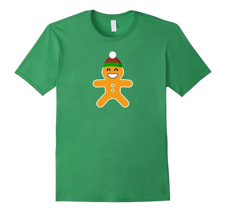 Christmas Smiling Emoji Gingerbread T-Shirt Smiling Eyes-FL