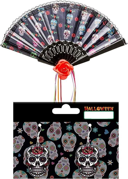 LEMON TREE SL Accesorio Disfraz Halloween Abanico Calado Negro y ...