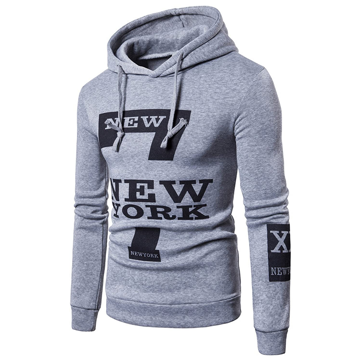 ❤️sfe, Clearance,Men Blouse,Men's Hooded Outwear,Winter Men Warm Printed New York Hoodie Hooded Sweatshirt Top Coat ❤️sfe Men' s Hooded Outwear