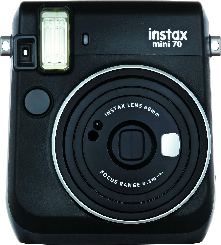 Instax Mini 70, Cámara instantánea analógica (ISO 800, 0.37x, f 60 mm, 1:12.7, Flash automático), Tamaño Único, Negro: Amazon.es: Electrónica