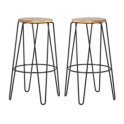 Excellent Rivet Dayton Mid Century Modern Metal Bar Stool 24H Pack Of 2 Beige Pabps2019 Chair Design Images Pabps2019Com