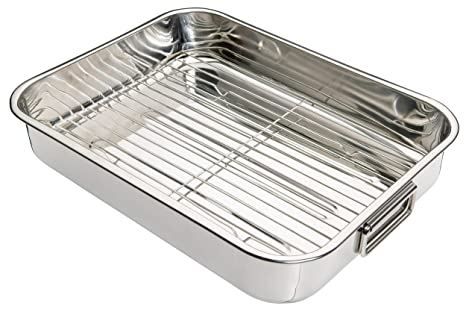 Kitchen Craft - Fuente de Horno Rectangular con Rejilla (Acero Inoxidable), Color Plateado