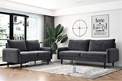 Container Furniture Direct Americus Ultra Modern Velvet Upholstered Living Room Sofa Set