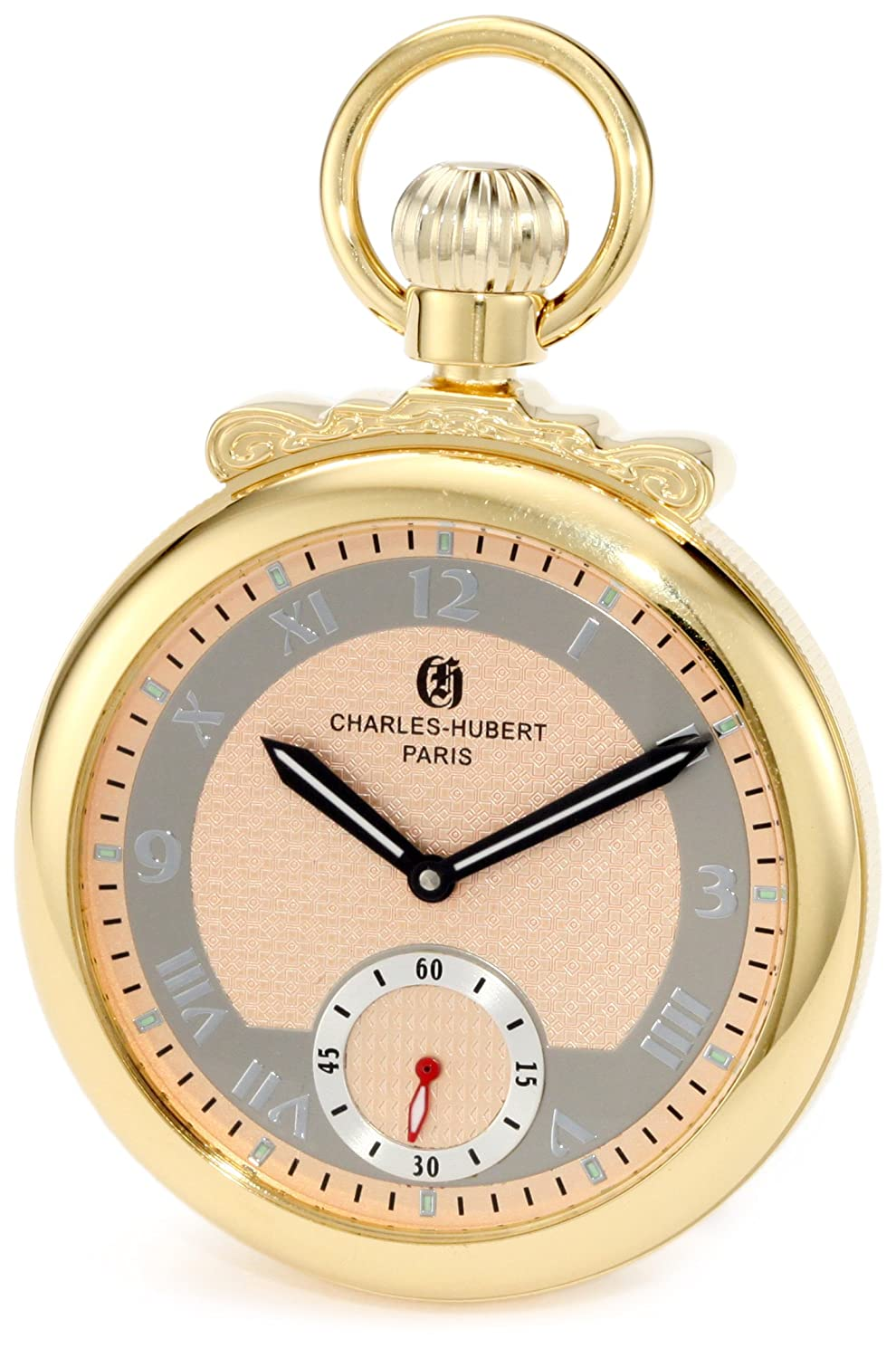 CDM product Charles-Hubert, Paris 3873-G Classic Collection Gold-Plated Polished Finish Open Face Mechanical Pocket Watch big image
