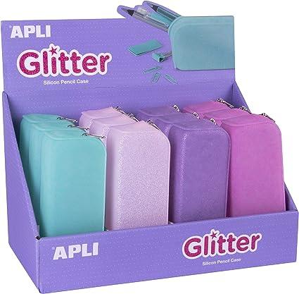 Estuches Portatodo de Silicona Colores Glitter Apli 18216: Amazon.es: Oficina y papelería