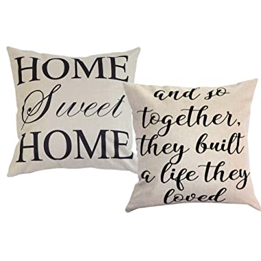 FOOZOUP Farmhouse Style Decorative Throw Pillow Case Cushion Cover 18  x 18  for Sofa Couch Home Sweet Home Cotton Linen and So Together They Built a Life They Loved