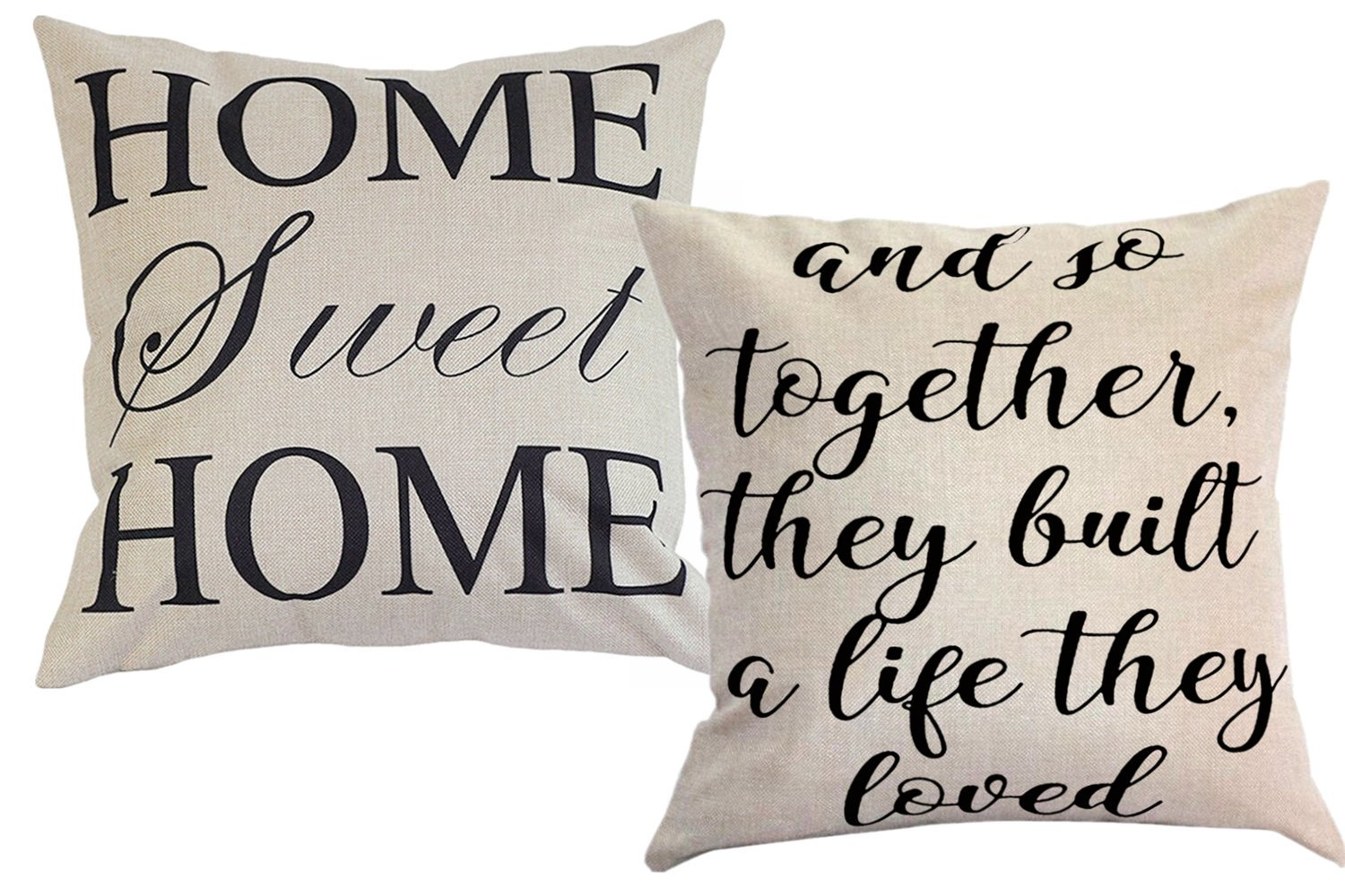 Foozoup Farmhouse Style Decorative Throw Pillow Case Cushion Cover 18'' x 18'' for Sofa Couch Home Sweet Home Cotton Linen and So Together They Built a Life They Loved by Foozoup