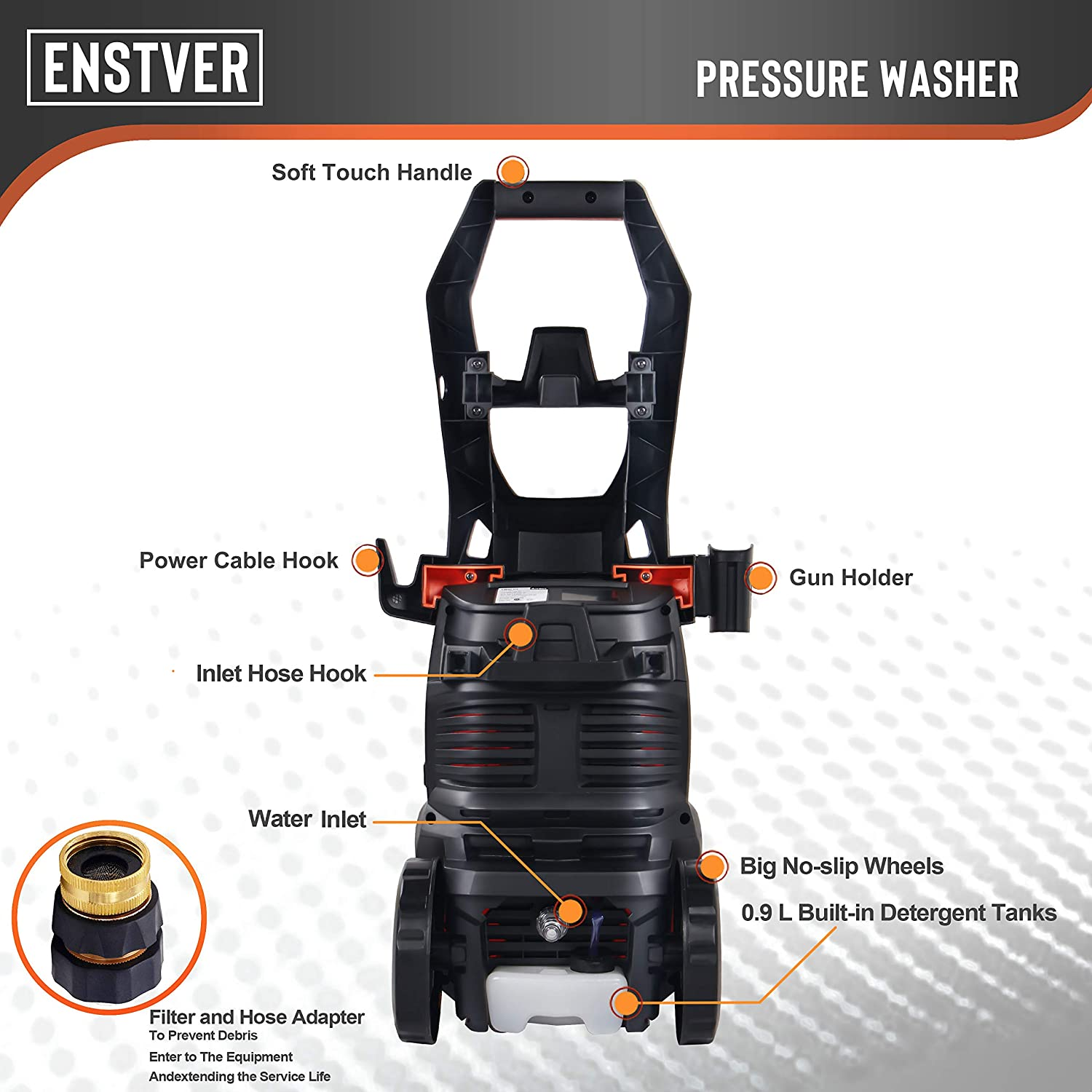ENSTVER Electric Power Washer, 2100PSI 1.8 GPM máquina de Limpieza ...