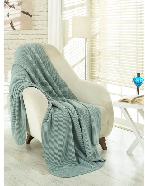 Ottomanson Ottomanson Waffle Sage Green Solid Soft Cotton Cozy Fleece Blanket - 17567934 - Overstock.com Shopping - Top Rated Blankets