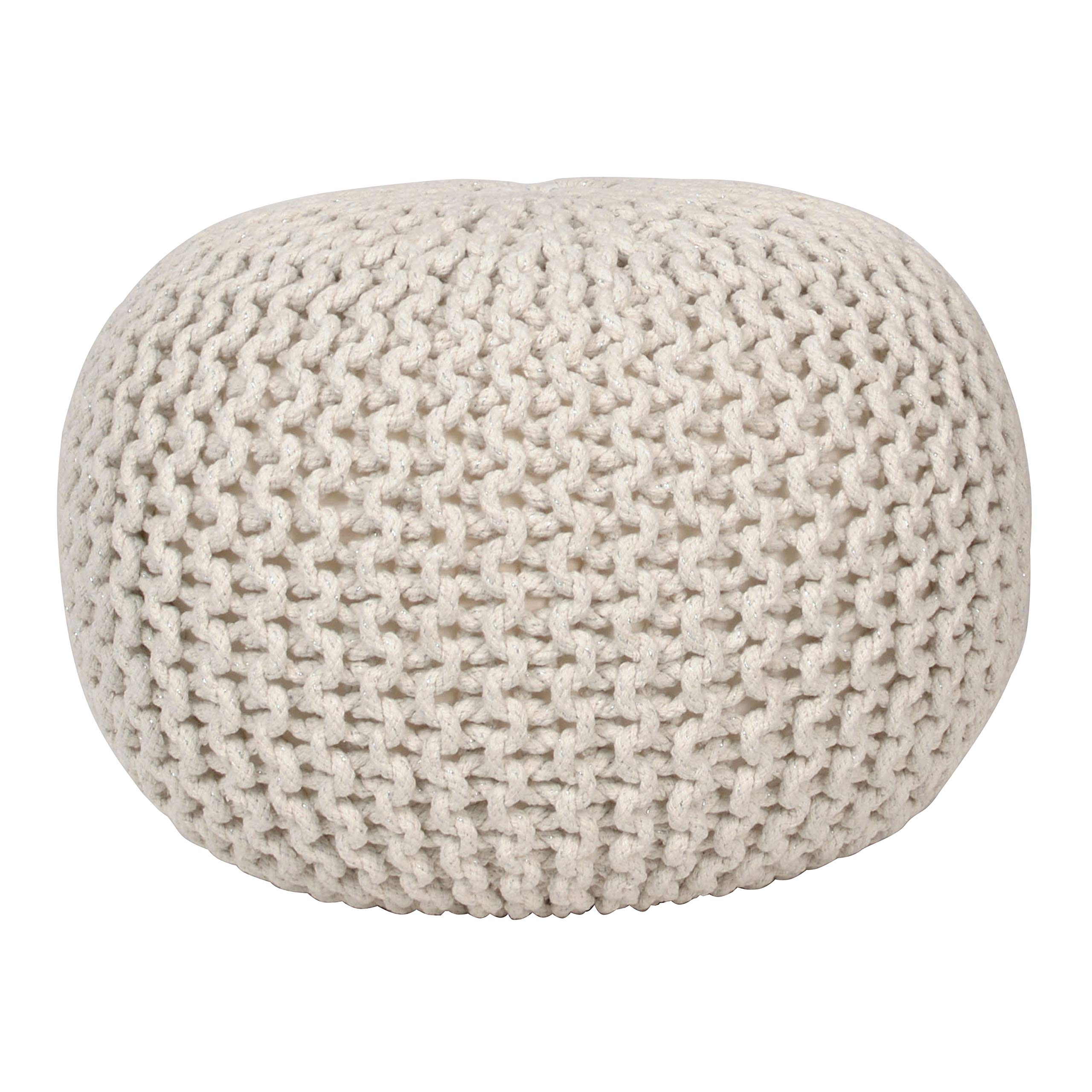 Décor Therapy Lola Round Lurex Pouf, 20x20x14, Off- Off-white by Decor Therapy