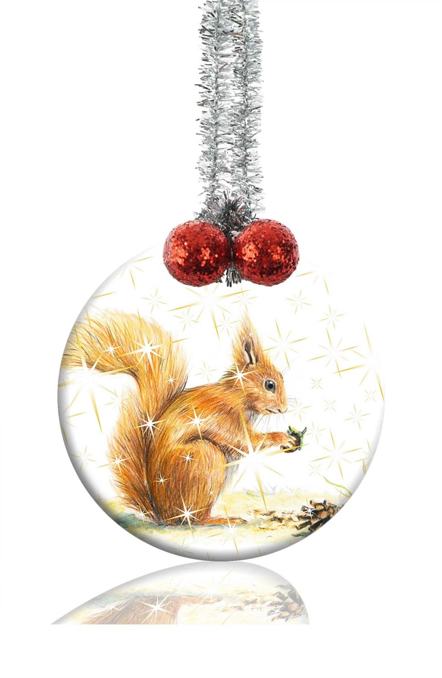 GDEE Custom Squirrel wild animals Personalized Round Porcelain Ornaments Christmas Ornaments Home Decoration