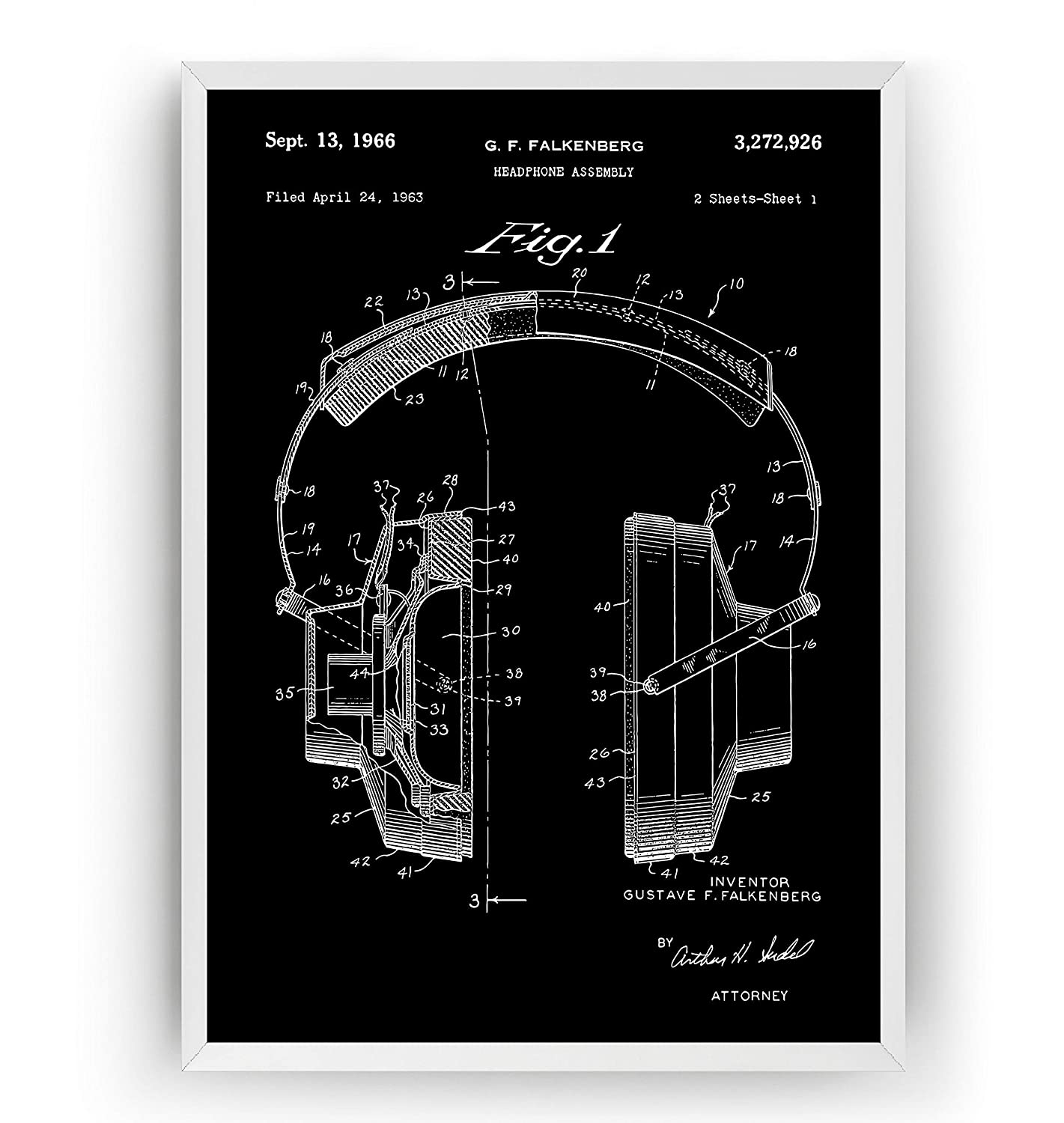 Headphones 1966 Patent Print Frame Not Included Poster Giclee Art Wall Decor Vintage Blueprint Gift