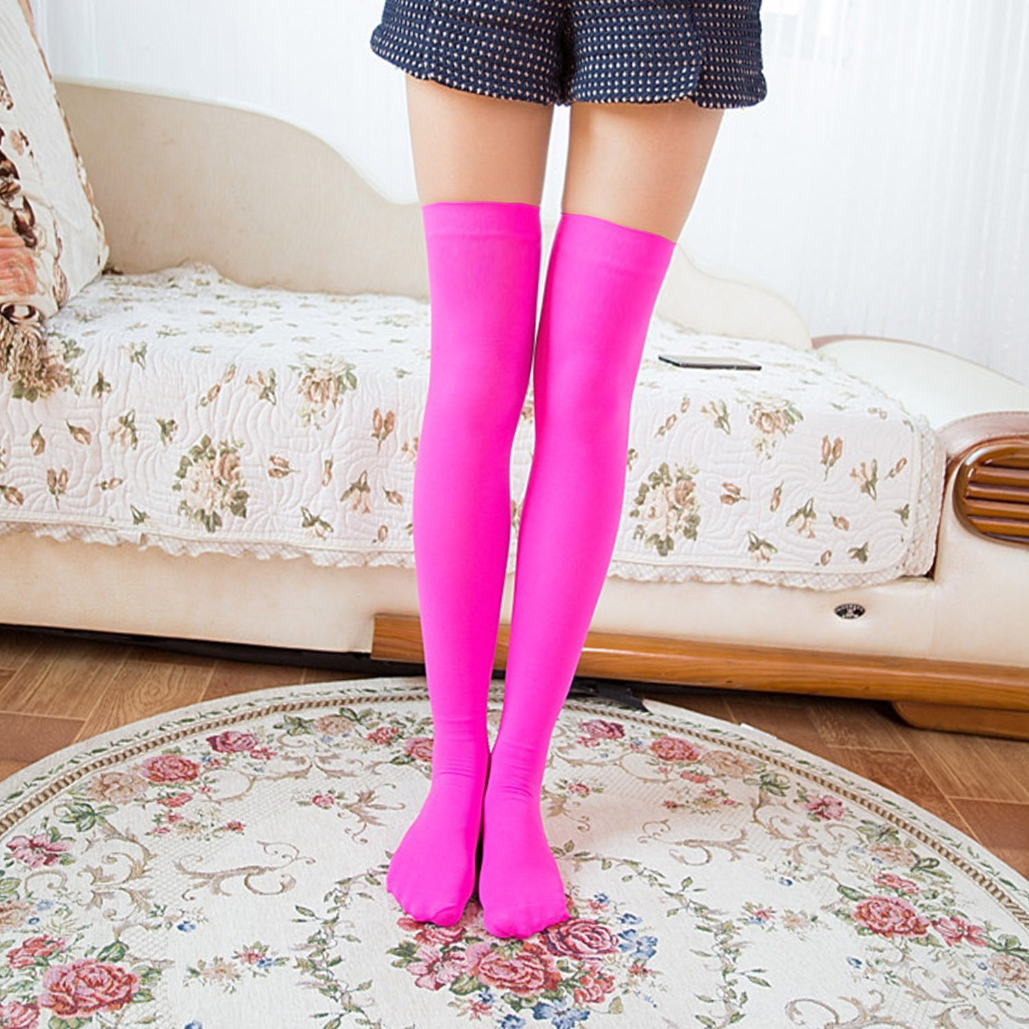 5f34d5b77f128 3 Pairs Women's Long Top Thigh High Stockings Over knee Socks, One Size,  Purple+hot Pink+kelly Green at Amazon Women's Clothing store: