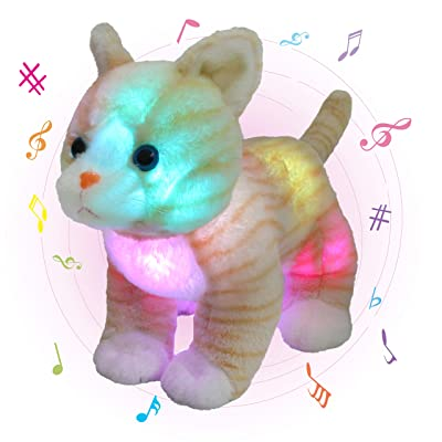 Glow Guards 14'' Light up Musical Realistic Stuffed Cat Soft Plush Toy with LED Night Lights Nursery Songs Singing Glow Birthday Children's Day Gifts for Toddler Kids: Toys & Games