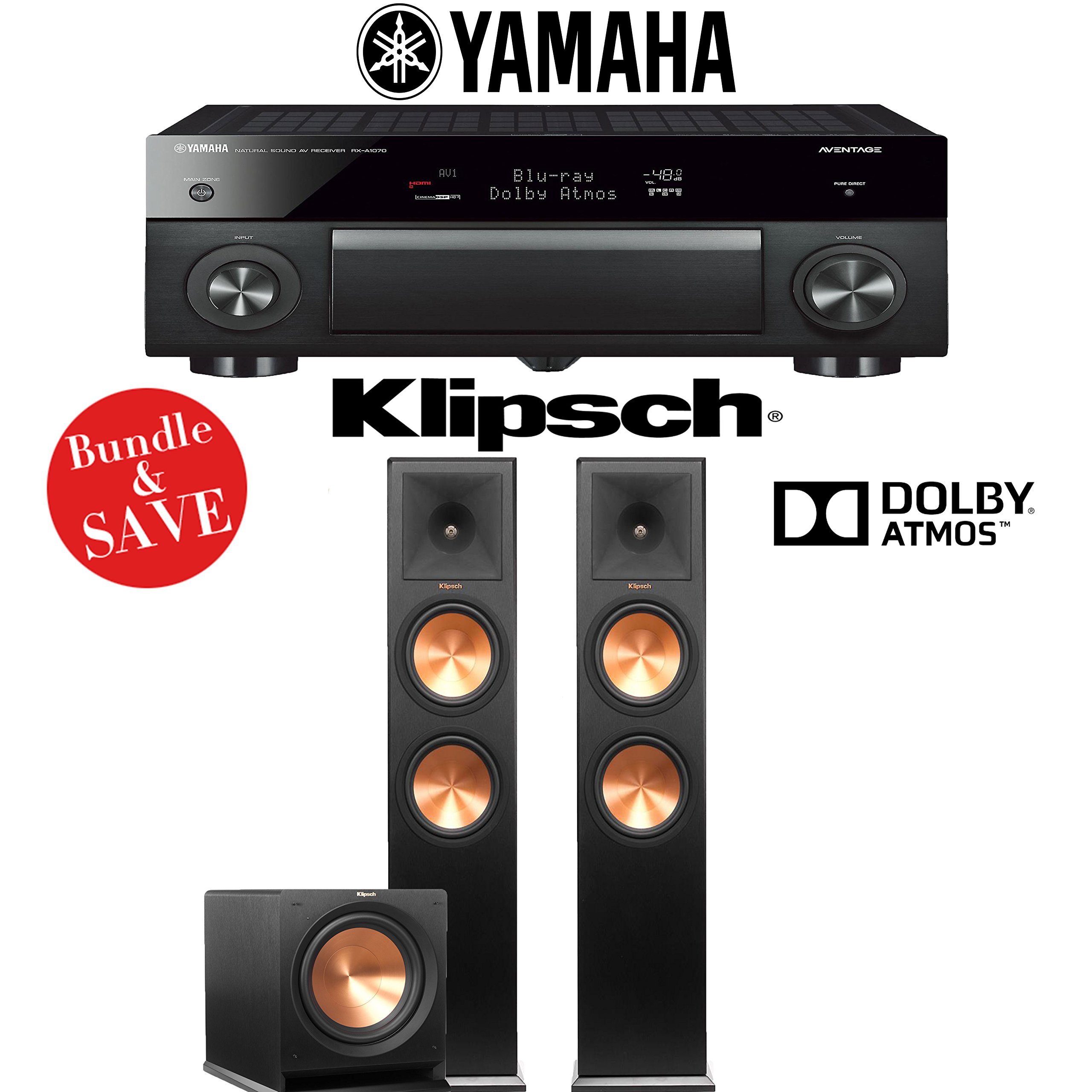Yamaha AVENTAGE RX-A1070BL 7.2-Channel 4K Network AV Receiver + Klipsch RP-280FA + Klipsch R-112SW - 2.1-Ch Dolby Atmos Home Theater Package by Klipsch