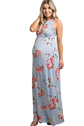 5b6421113831a PinkBlush Maternity Rose Floral Sleeveless Maxi Dress at Amazon Women's  Clothing store:
