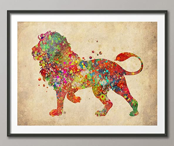 Amazon.com: Vintage Lion WatercolorPrint Archival Fine Art Print For ...