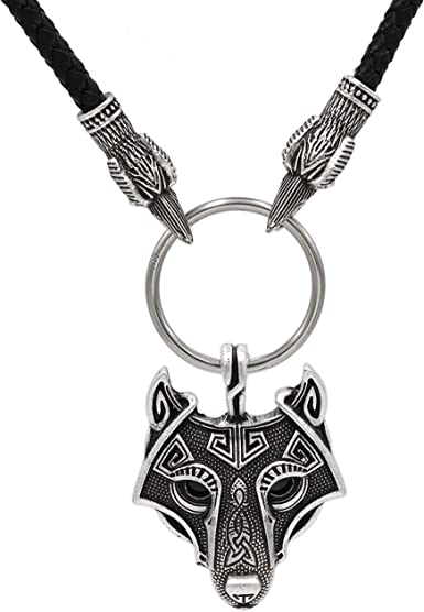 Vintage Norse Viking Axe Wolf Head Pendant Rune Necklace Silver Men/'s Jewelry