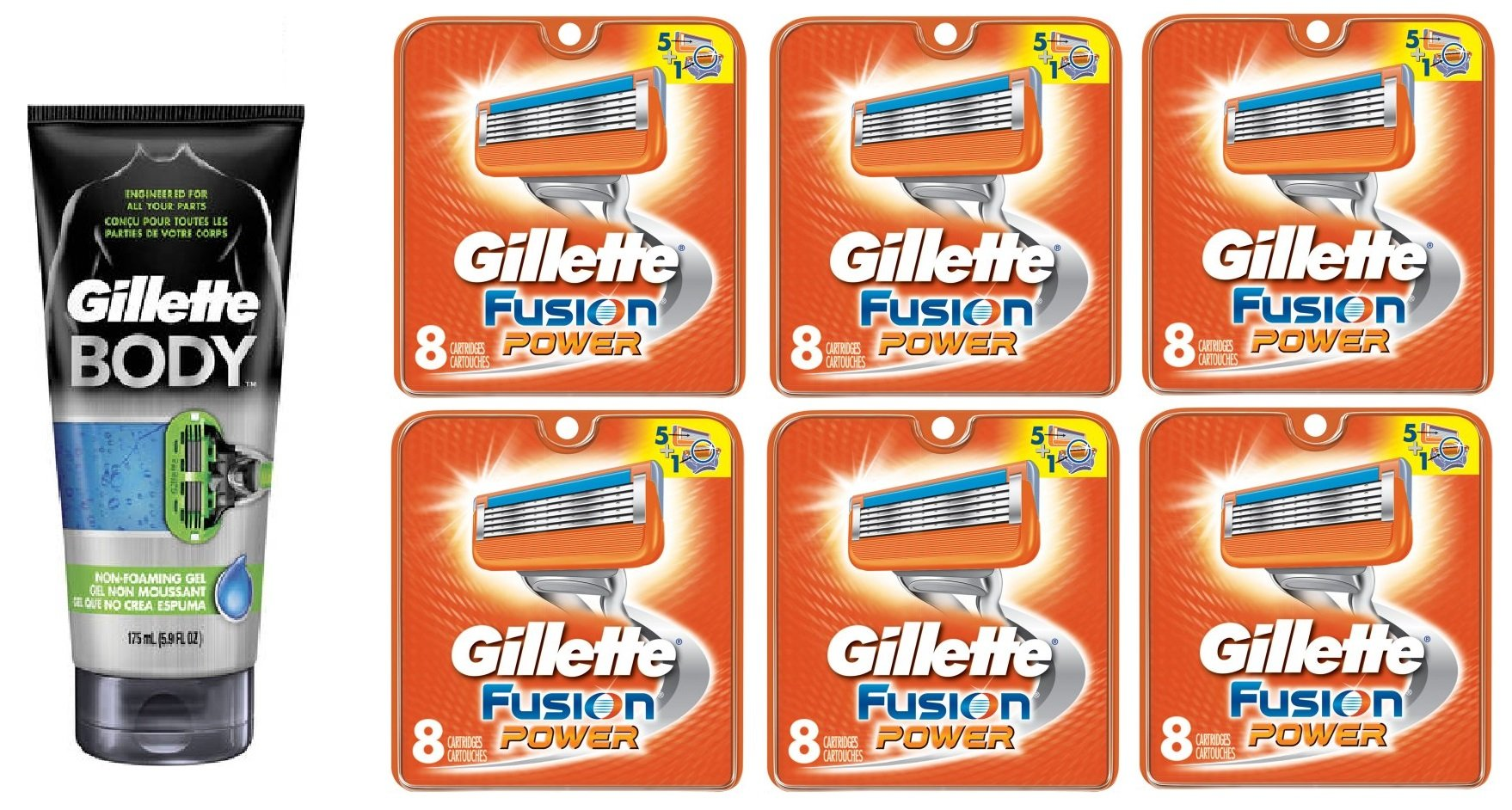 Gillette Body Non Foaming Shave Gel for Men, 5.9 Fl Oz + Fusion Power Refill Blades 8 Ct (6 Pack) + FREE Luxury Luffa Loofah Bath Sponge On A Rope, Color May Vary