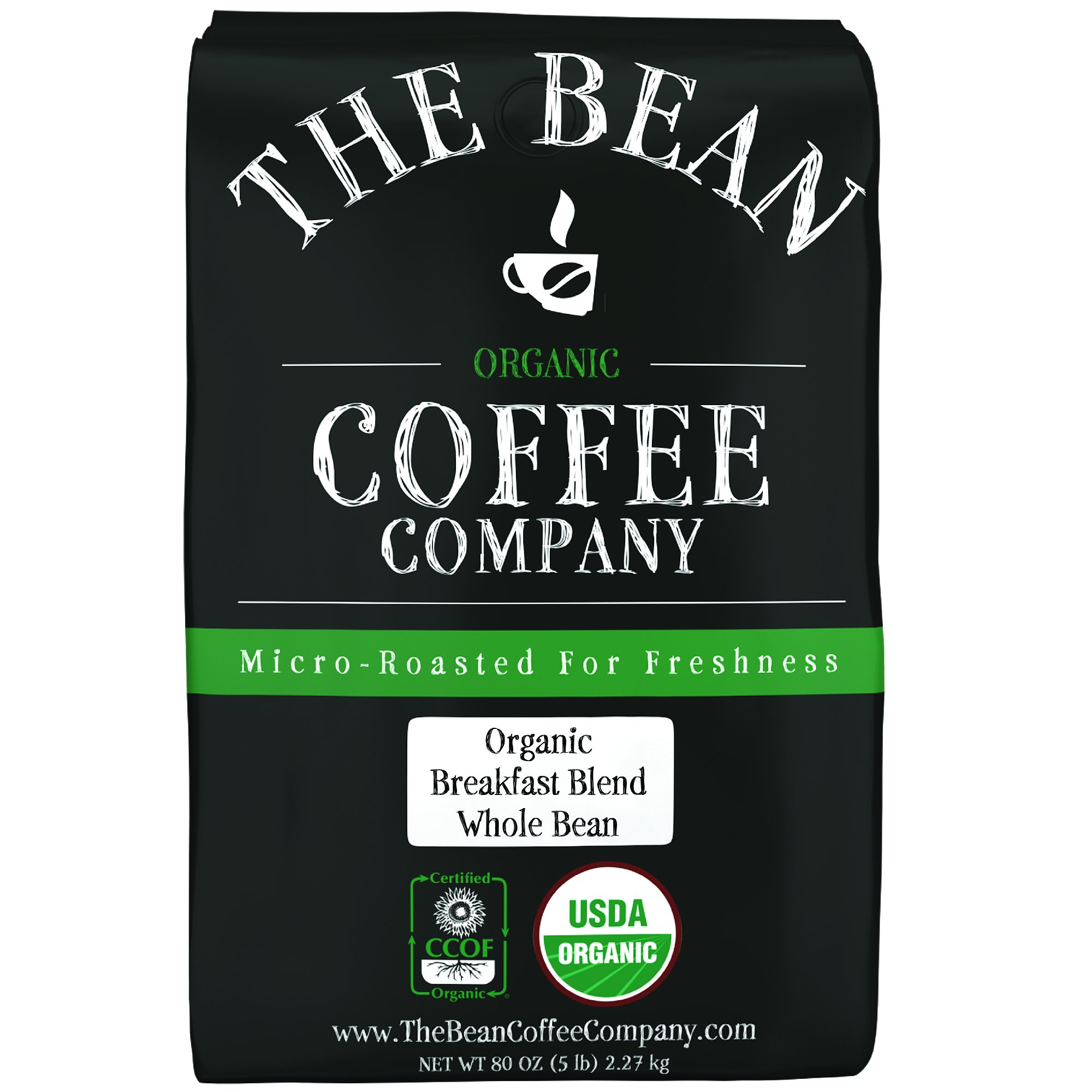 The Bean Coffee Company Organic Breakfast Blend, Light Roast, Whole Bean, 5-Pound Bag by The Bean Coffee Company
