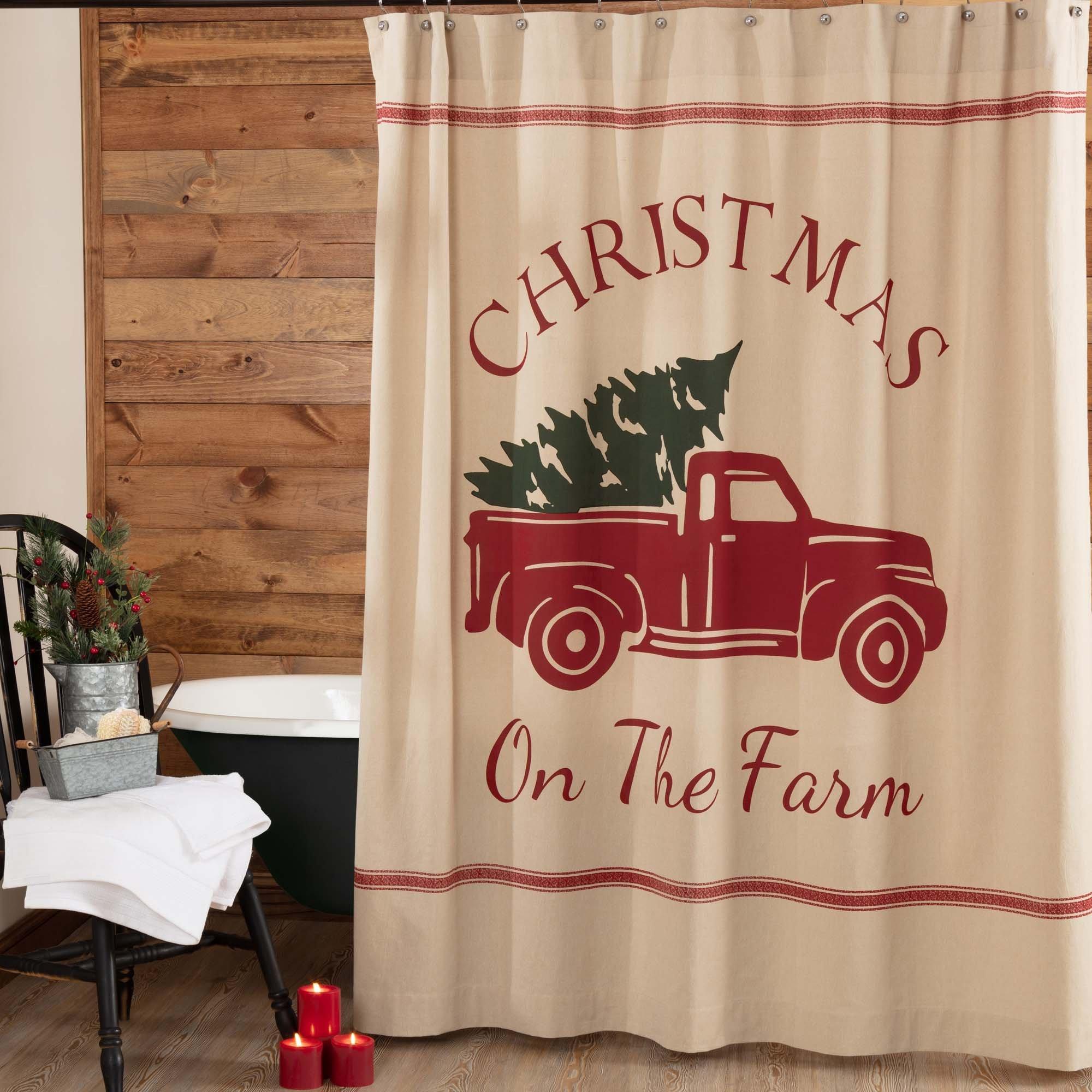 Piper Classics Christmas Tree Farm Shower Curtain, 72'' x 72'', Red Truck Country Farmhouse Holiday Bathroom Décor