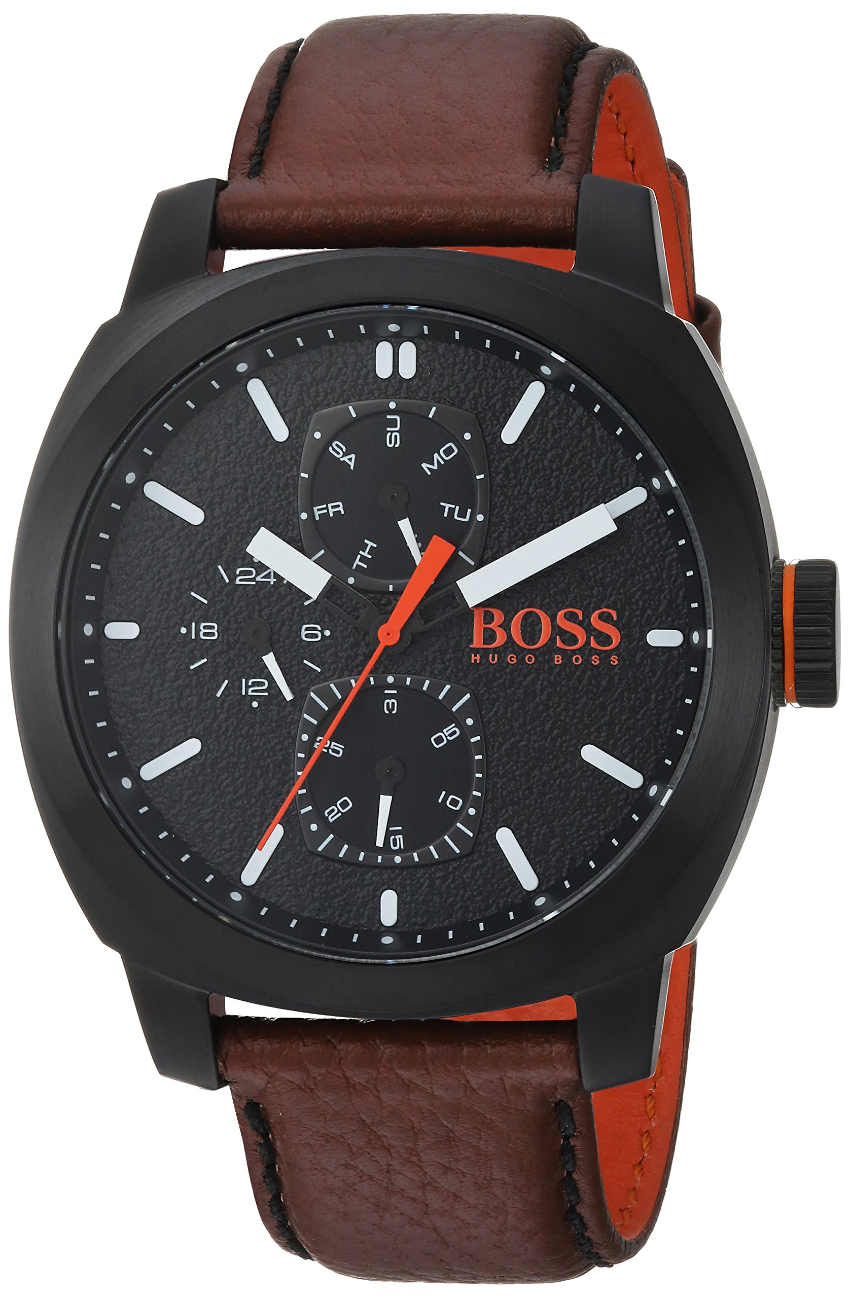 HUGO BOSS Men's Cape Town Stainless Steel Quartz Watch with Leather Strap, Brown, 22 (Model: 1550028) by Hugo Boss