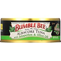 BUMBLE BEE Prime Fillet Solid White Albacore Tuna with Jalapeño & Olive Oil, 5 Ounce Can (Case of 12), Wild Caught Tuna…