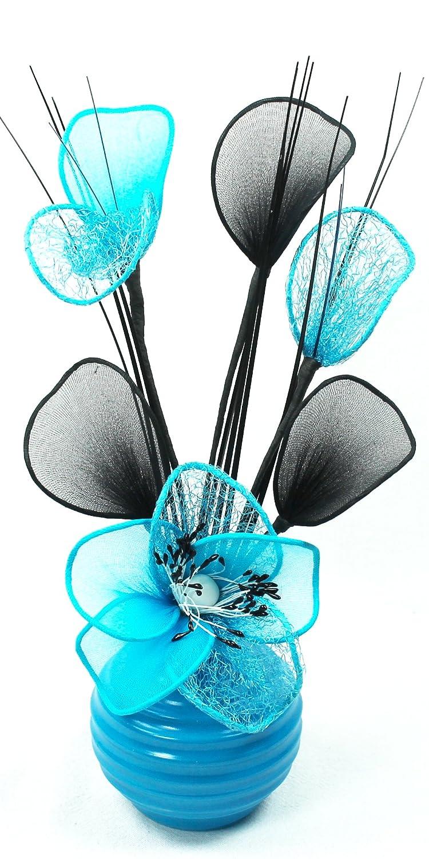 Chambre /à Coucher ou fen/être///étag/ère Fleurs artificielles Bleu Ciel Accessoires /& d/écoration pour Salle de Bain Vase Bleu Ciel 32 cm