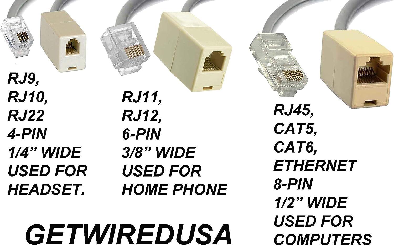 RJ9 RJ10 RJ22 4P4C 4-PIN FEMALE CABLE CONNECTOR COUPLER HEADSET PHONE NETWORK