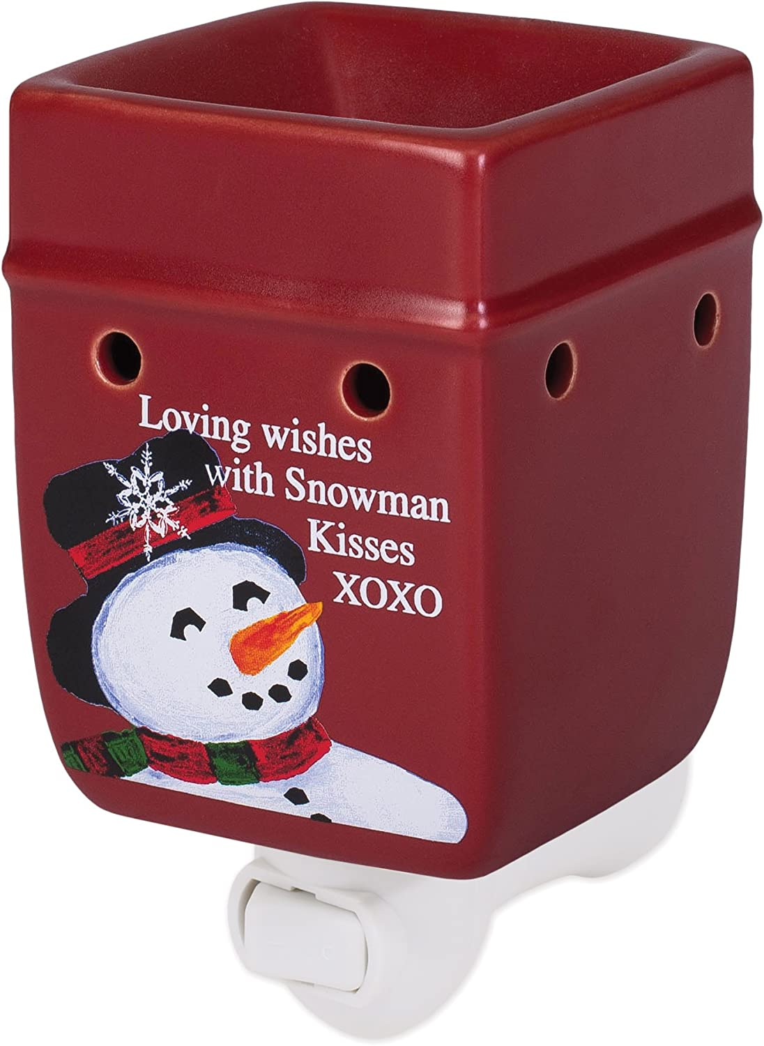 Elanze Designs Classic Snowman Winter Wonders Red Christmas Ceramic Stone Holiday Plug-in Warmer