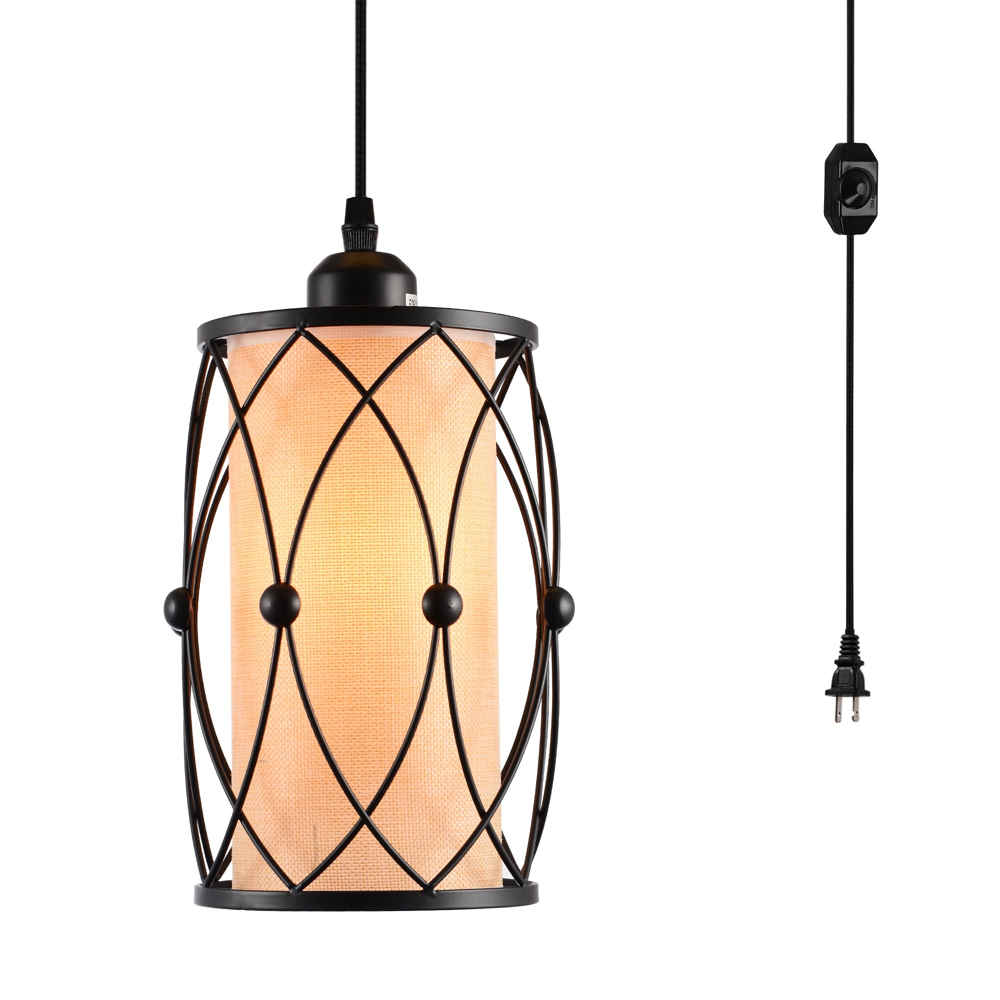 HMVPL Swag Plug-In Pendant Light with 16.4 Ft Hanging Cord and On/Off Dimmer Switch,Original Industrial Cage and Linen Lampshade Design for Dining Room, Bed Room,Hallway and more by HMVPL