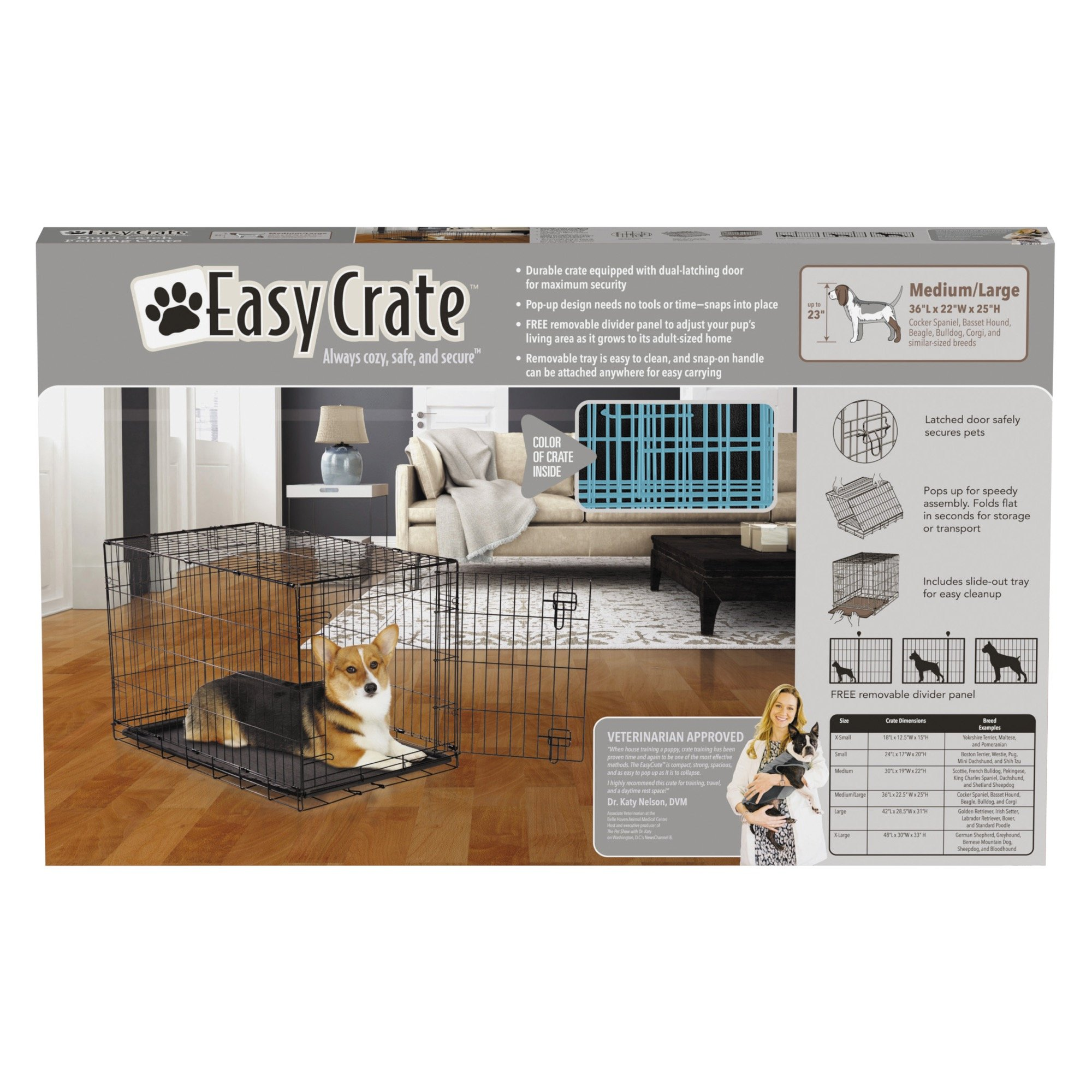 Easy Dual Latching Dog Crate, Medium/Large, Teal by Easy (Image #4)