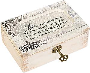 Cottage Garden Life Not Measured by Breaths Deco Whitewash Jewelry Music Box Plays Wonderful World