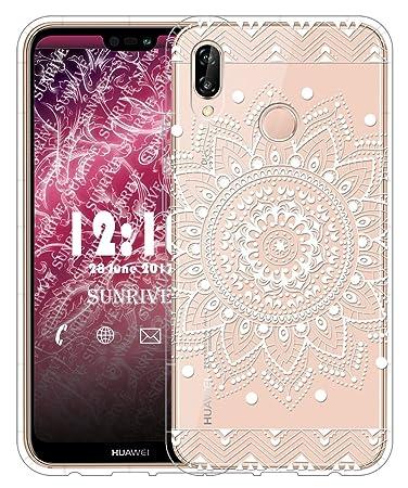 Sunrive Für Huawei P20 Lite Hülle Silikon, Transparent Handyhülle Schutzhülle Etui Case für Huawei P20 Lite(TPU Blume Weiße)+