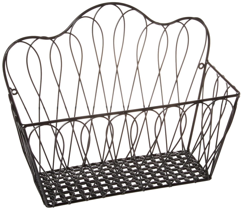 Decorative Black Metal Wire Loop Design Wall Mounted Magazine Holder Bin / Fruit Basket Rack - MyGift FBA_TB-KIT0252BLK