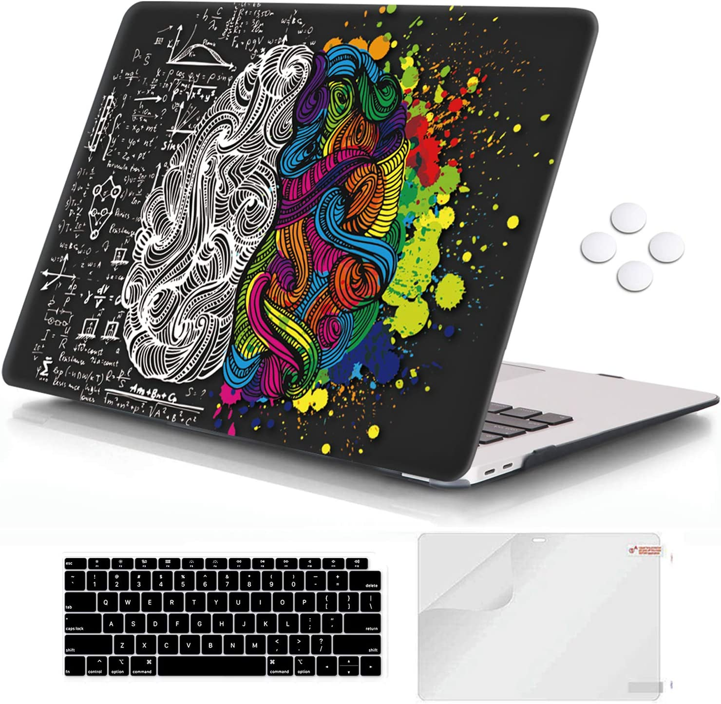 iCasso MacBook Air 13 inch Case 2020 2019 2018 Release A1932/A2179, Hard Shell Case Protective Cover and Keyboard Cover Compatible Newest MacBook Air 13'' with Touch ID Retina Display - Brain