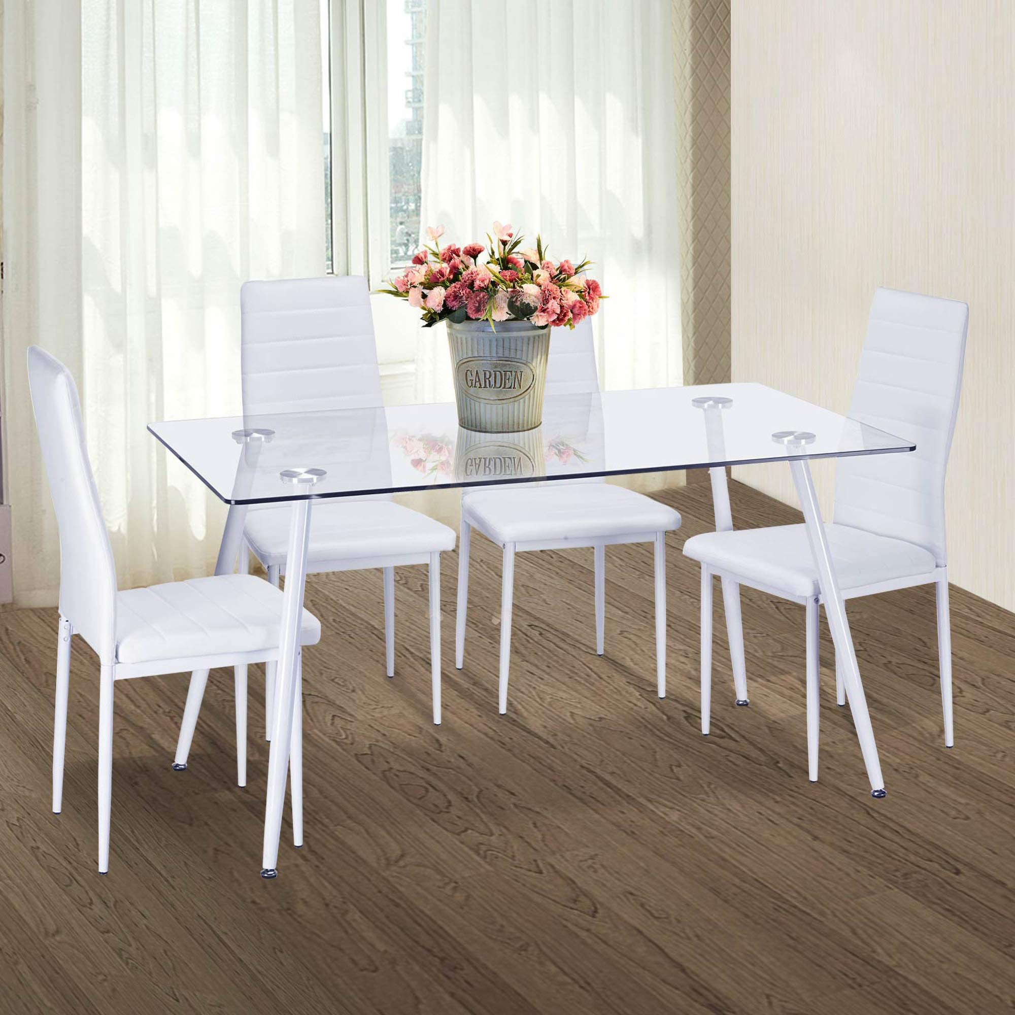 Merax Set of 4 Dining Room Chairs PU Leather Home Furniture Kitchen Side Chairs (White)
