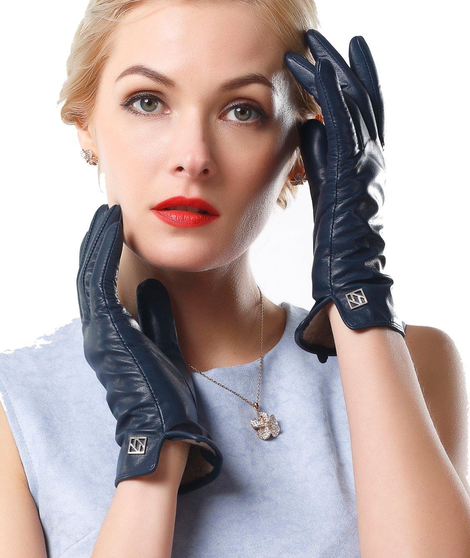 NappaNovum Women's Classic Italian Nappa Leather Gloves Lambskin Winter Comfort Lining Fashion Gloves (Touchscreen or Non-Touchscreen) (S, Dark Navy)