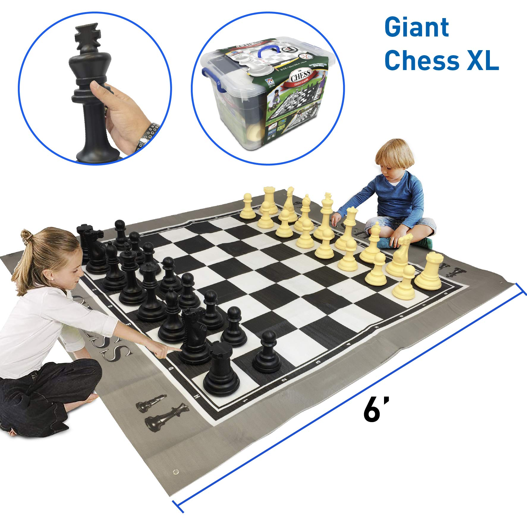 """EasyGoProducts EGP-TOY-018 EasyGo Giant X 5 Feet Mat Chess Indoor Outdoor Large Yard Lawn Family Game –– Pieces Range from 6""""–10"""" Inches Tall"""