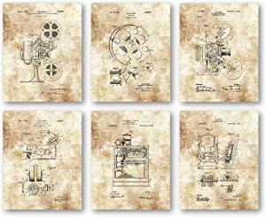 Ramini Brands Original Home Theater Patent Artwork - Set of 6 8 x 10 Unframed Prints - Great Gift for Housewarmings and Movie Fans