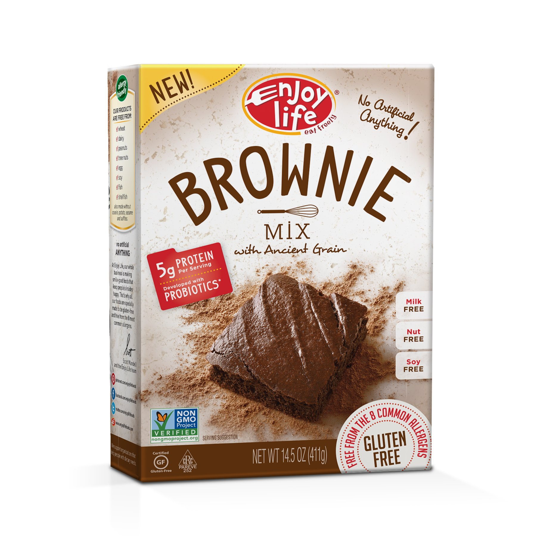 Enjoy Life Gluten Free Life Brownie Mix with Ancient Grains, Gluten, Dairy, Nut & Soy Free and Vegan, 14.5 Ounce