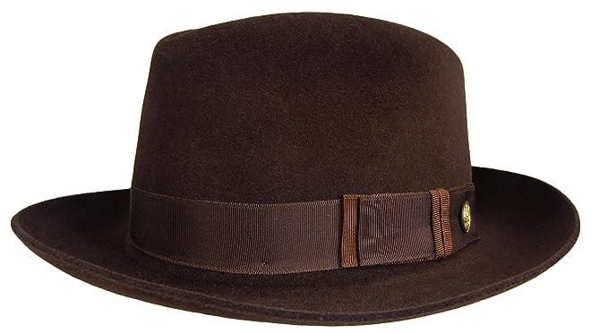 a6e14aa58 Stetson Lowell Fedora Chocolate Brown Size 7 1/4 R Oval 2 1/8