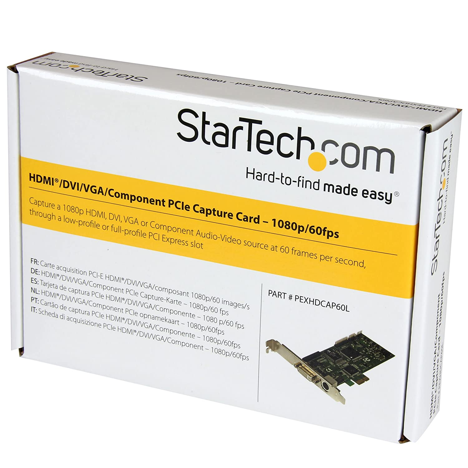 StarTech.com PCIe Video Capture Card – HDMI / DVID / VGA / Component – 60fps Game Capture Card – 1080p – HDMI Video Capture Card