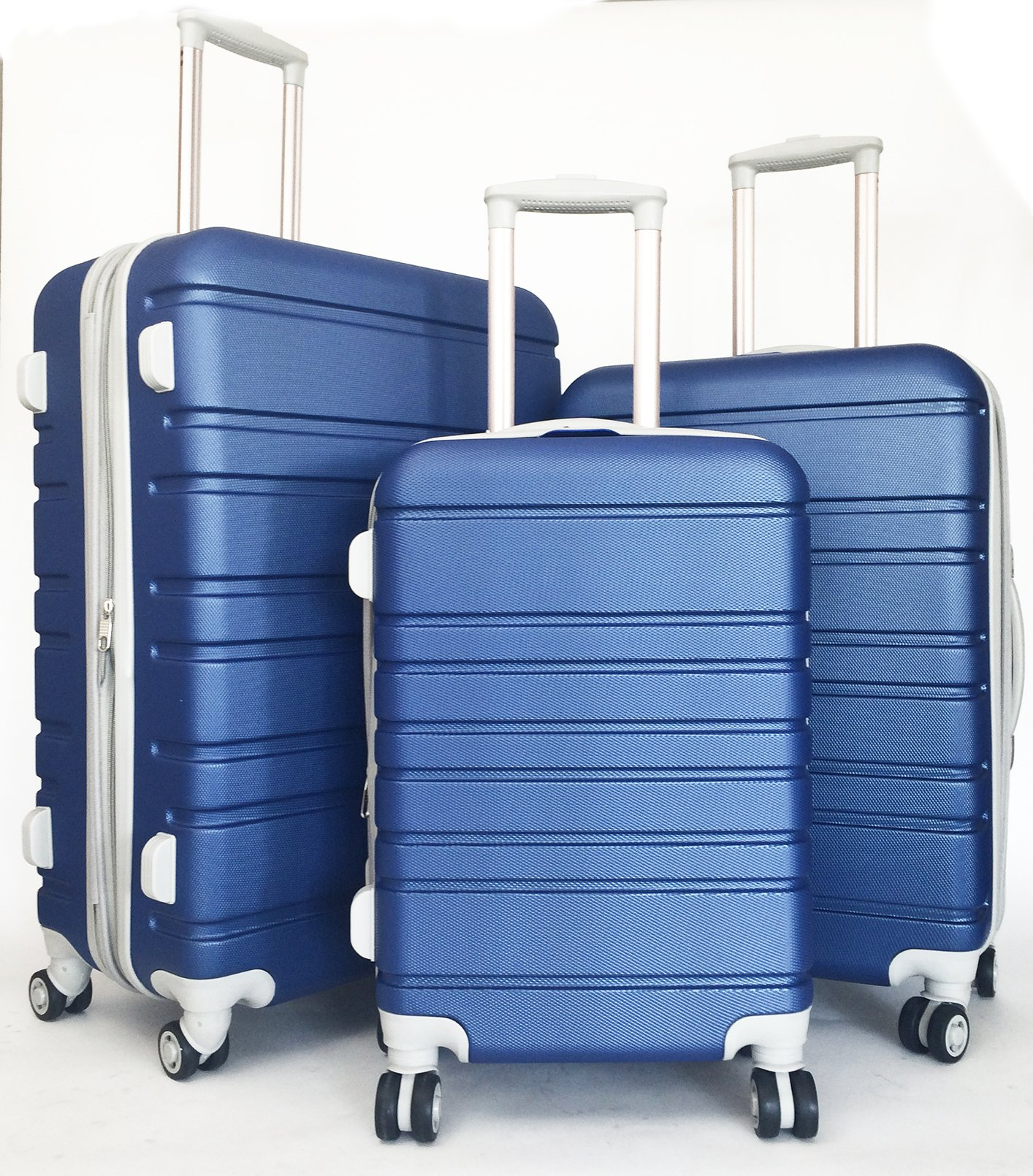 3pc Luggage Set Hardside Rolling 4wheel Spinner Upright Carryon Travel Blue