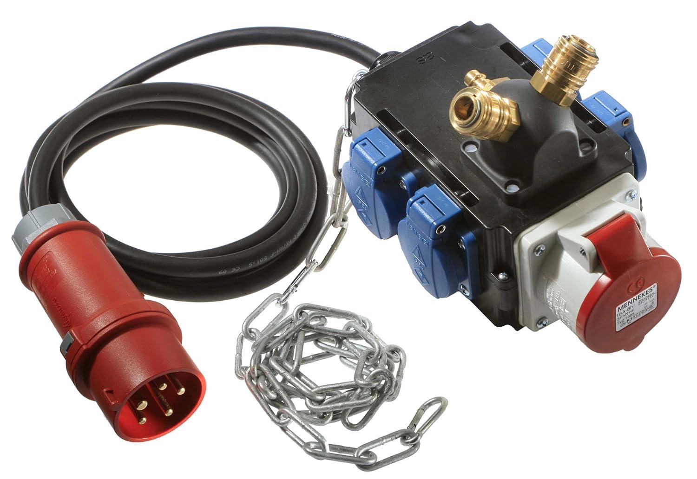 as - Schwabe 60794 Energiewürfel II+ mit Leitung, 4,5m H07RN-F 5G1,5, mit Druckluftanschluss ,IP44 Gewerbe, Baustelle