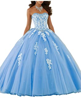 5ba5526b53 Eldecey Women s Lace Applique Floor Length Tulle Ball Gown Quinceanera Dress